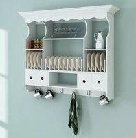 VidaXL белый деревянный кухонный настенный шкаф элегантный и античный настенный шкаф с крючками, пригодный для кухни