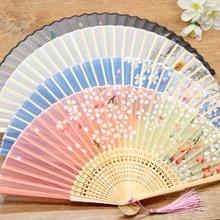 Abanicos de bambú plegables para boda, abanico Chino japonés, ventilador plegable antiguo de China, regalo eventail a main Vintage bambu waaiers