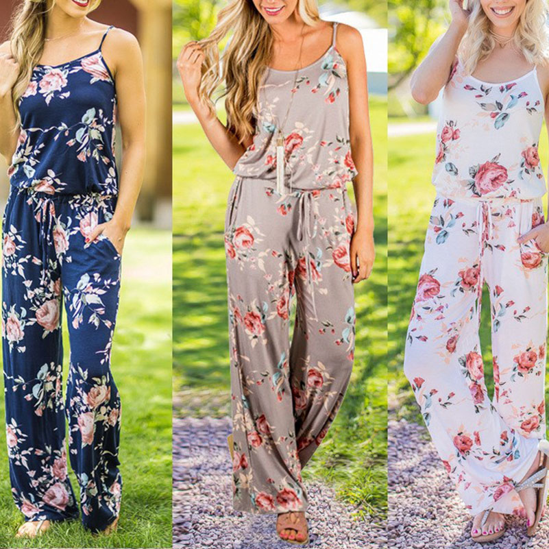 Women Romper Jumpsuits Loose Casual Summer Speghetti Strap Sleeveless Backless Sexy Plus Size Playsuits Overalls Lace Up Floral