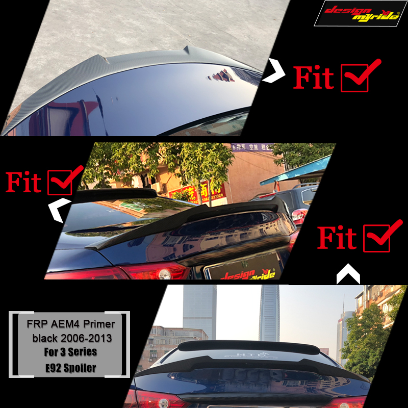 E92 Spoiler trunk wing tail M4 style FRP black for bmw e92 2 door coupe 318i