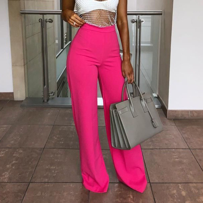 Women Pants Sexy Wild Wide Tube Comfortable High Waist Lady Office Trousers Casual Solid Color Streetwear YOUNGER TREE