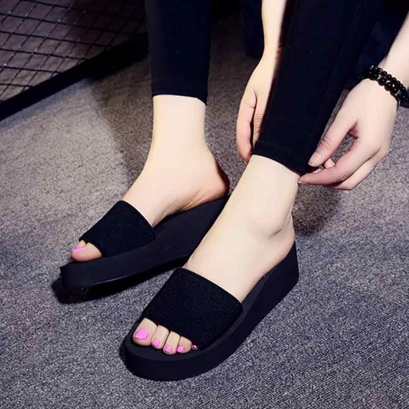 2676d334e0d697 ... 2018 Summer Woman Shoes Platform bath slippers Wedge Beach Flip Flops  High Heel Slippers For Women ...