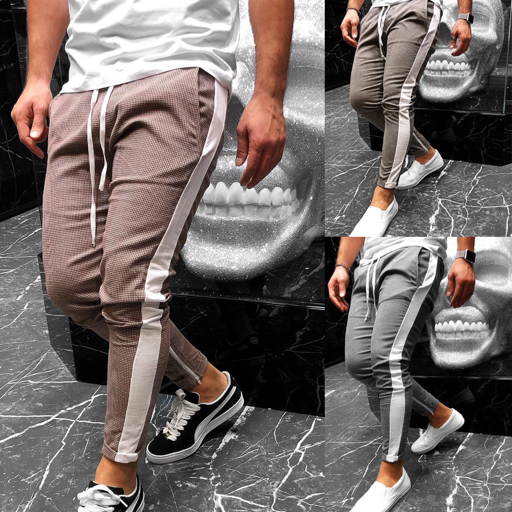 Mens Tracksuit Bottoms   Loose Pants Sportswear White Side Plaid   Skinny Slim Fit Straight  Pants Size M-2XL