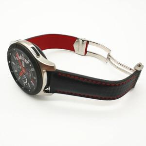 Image 5 - حزام (استيك) ساعة لسامسونج غالاكسي ووتش 46/42 مللي متر الكربون الألياف جلد طبيعي حزام ل والعتاد S3 هواوي GT ووتش 2 Amazfit 2 مربط الساعة