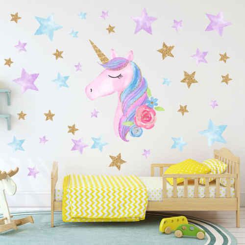 Hot Fantasi Unicorn Bintang Pelangi Stiker Dinding Kamar Tidur Anak Perempuan Stiker Dinding Seni Decal Diy Nursery Dekorasi Rumah Wall Stickers Aliexpress