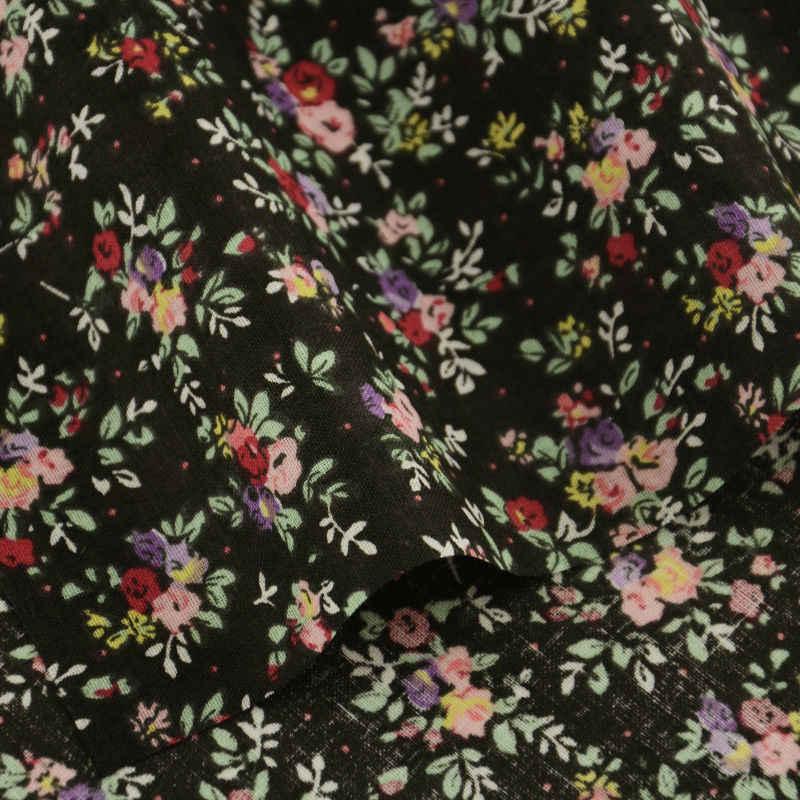 100% Tessuto di Cotone Fiori Disegni Nero Cucito Patchwork Tissu Panni Per Principianti Pratica delle Tecidos Para Costura Stoffen