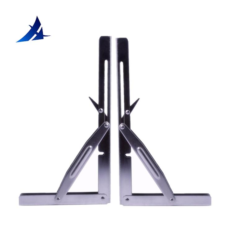 2 Pieces Stainless Steel Folding Shelf Bench Table Bracket 250KG Load Heavy Duty 12