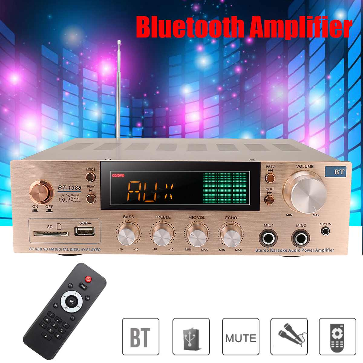 800W <font><b>HIFI</b></font> 2 Channel Home bluetooth Stereo <font><b>Amplifier</b></font> Karaoke FM Radio USB SD Power Home Theater <font><b>Amplifiers</b></font> with Remote Controller image