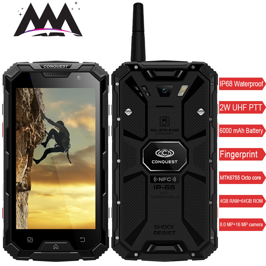 Conquest S8 <font><b>Smartphone</b></font> IP68 Waterproof shockproof 4GB RAM 64GB ROM MTK6755 Octa Core Android 6.0 <font><b>6000mah</b></font> battery mobile phone image