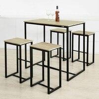 SoBuy OGT15 N, барный набор 1 барный стол и 4 табурета, домашний кухонный завтрак комплект барной мебели обеденный набор