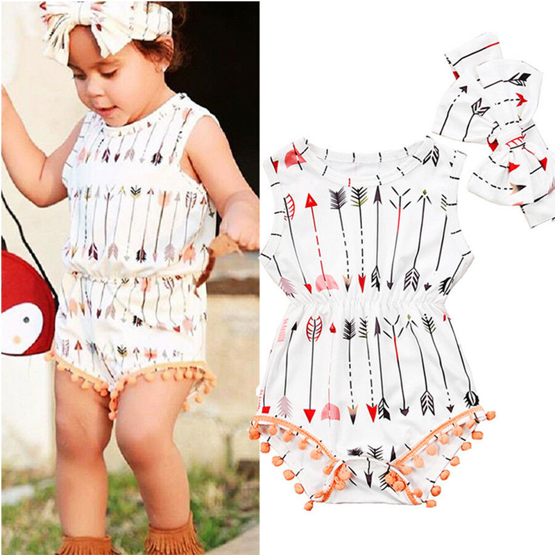 2019 Babies Girl Clothing White Sleeveless Suit Newborn Toddler Baby Girls Arrow   Romper   Jumpsuit Headband Outfit Clothes 0-24M