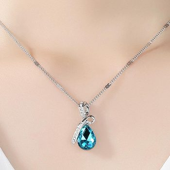 Luxury Necklace Fashion Jewelry 2 Colors Long Crystal Heart Pendant Necklace Chain For Women Love Necklaces & Pendants Collares 1