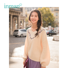 INMAN 2019 Spring Arrival V Neck Artistic Retro Korean Style Loose Shape Lantern Sleeve Women Pullover Sweater retro patched lantern sleeve sweater