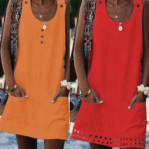 Women Loose Summer Sleeveless Dress Ladies Casual Pocket O Neck Short dress Cotton Solid Beach Holiday Dresses 2019 New
