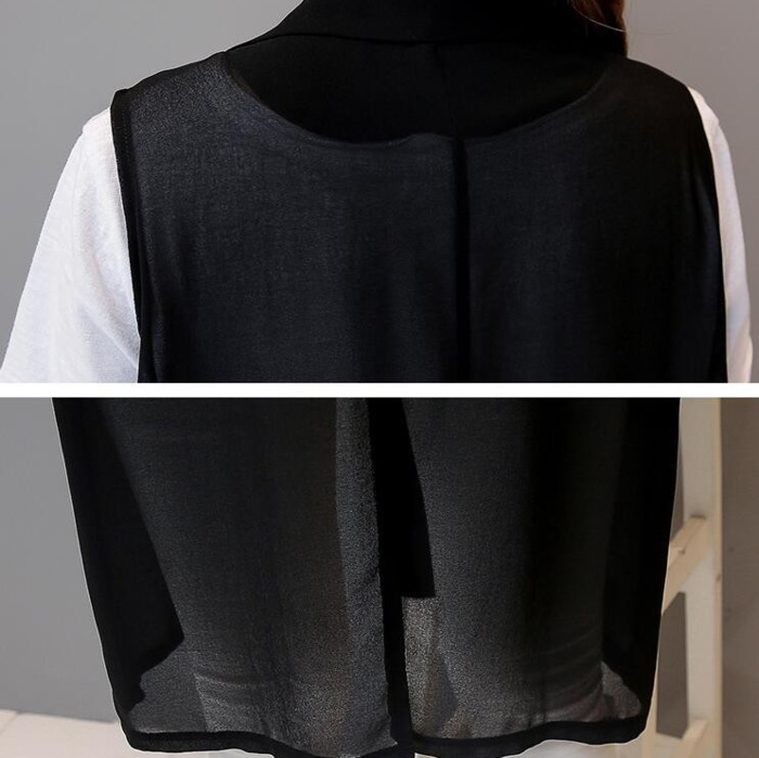 0717 2018 Summer Large Thin Chiffon Sleeveless Vest Women Long Loose See Through Kimono Coat White Black Waistcoat Plus Size in Vests amp Waistcoats from Women 39 s Clothing