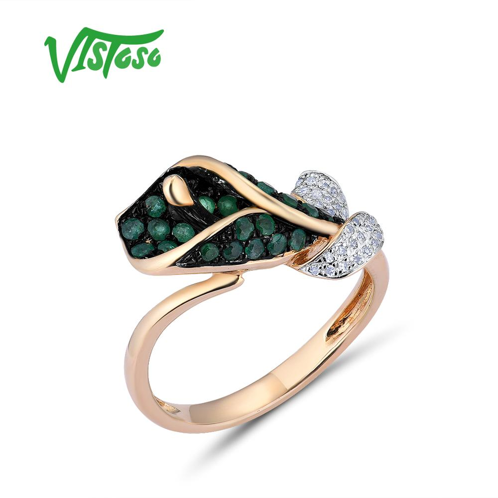 VISTOSO Gold Rings For Women Genuine 14K 585 Yellow Gold Ring Morning Glory Sparkling Diamond Emerald Anniversary Fine Jewelry