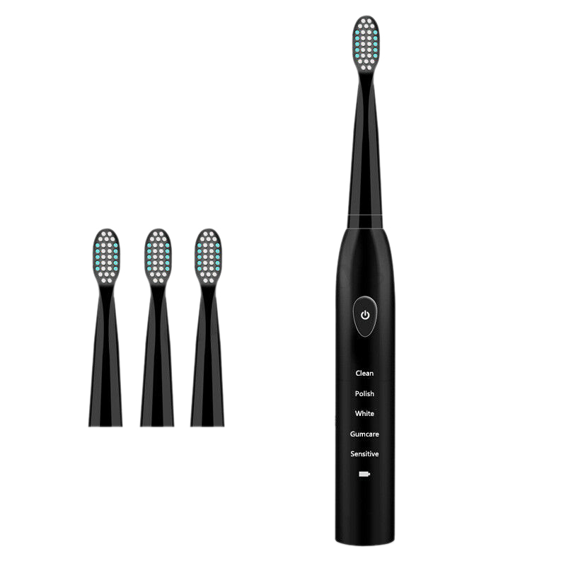 -5 Mode Sonic Rechargeable Electric Toothbrush 4x Brush Heads Waterproof Ipx7 Charging, Black (Normal Usb Charging) image