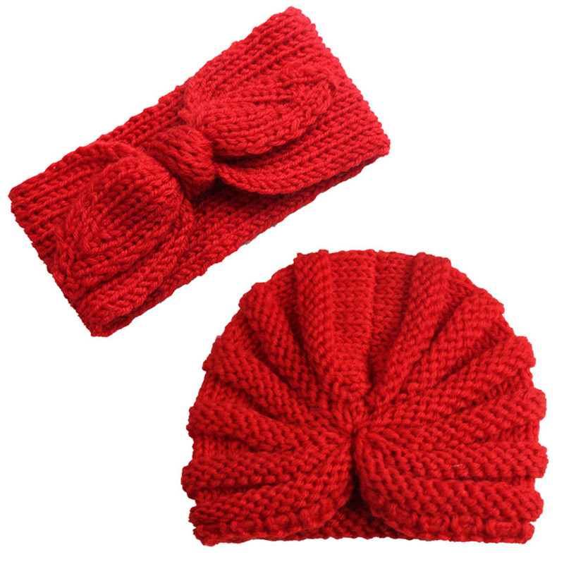 Toddler Kid Solid Knitted Crochet 2pcs Autumn Winter Hat Headwear Knitting Set Cute Baby Girl Boy Turban Head Wrap Cap 2019