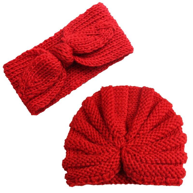 Toddler Kid Solid Knitted Crochet 2pcs Autumn Winter Hat Headwear Knitting Set Cute Baby Girl Boy Turban Head Wrap Cap 2019