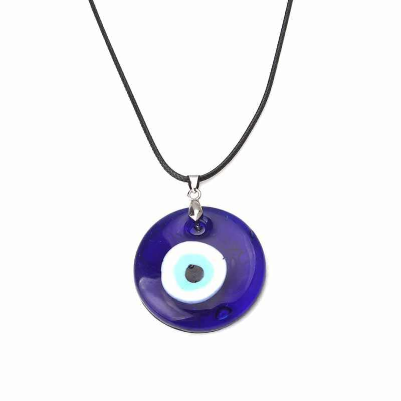 Evil Eye Necklace, Blue Eye Charm 30mm, Greek Mati, Hamsa, Nazar, Men Evil Eye Jewelry, Greek Leather Pendant Necklaces