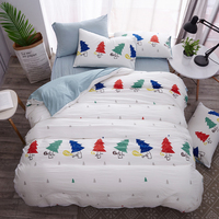 Christmas Tree Deer Duvet Cover Bedding Set Single Twin Full Queen King Size Smiling Star Cloud Bed Cover Flat Sheet Pillowcase