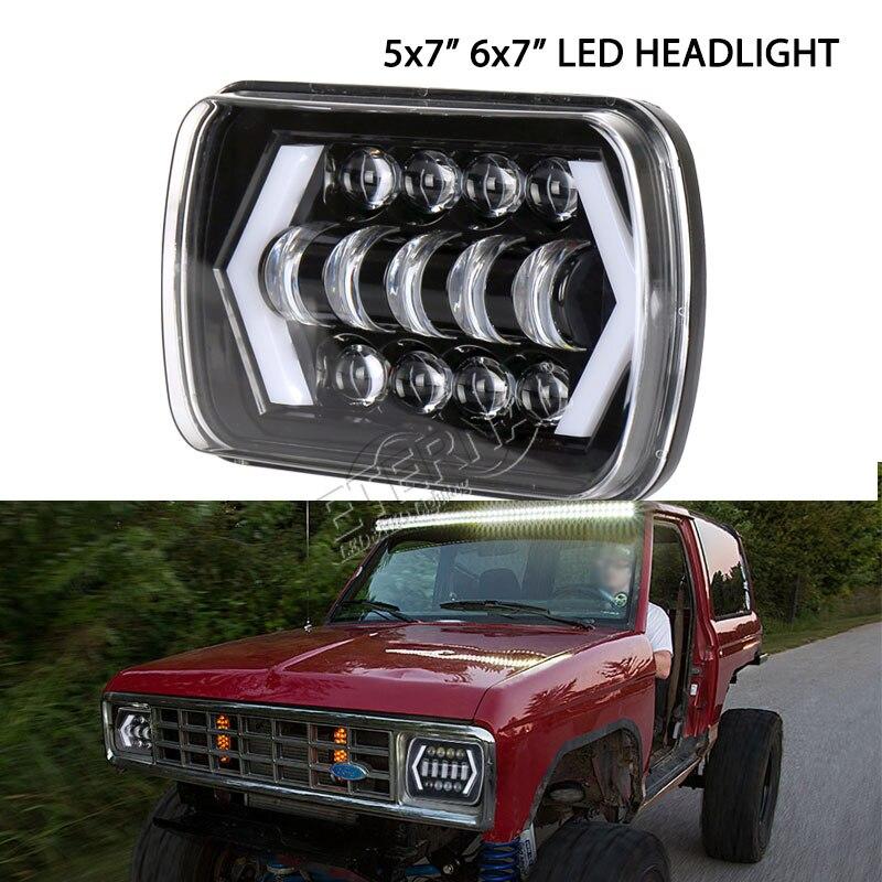 Купить с кэшбэком Pair 90W 5x7'' 6x7'' LED headlight DC10-30V 5x7inch H4 headlamp with DRL for 4x4 off road Cherokee XJ Ford araba aksesu truck