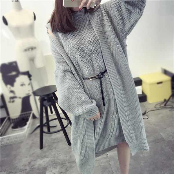 e8f9635193f6de Korea Style 2018 Autumn Winter Women Sweater Dress Suit Sashes Sleeveless  Long Knitted Cardigans 2 Piece
