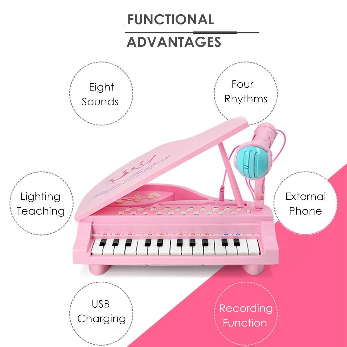 Électronique 25 touches clavier jouet orgue USB enfants Piano Microphone Instrument de musique jouant jouet ensemble rose/bleu enfants cadeaux - 3