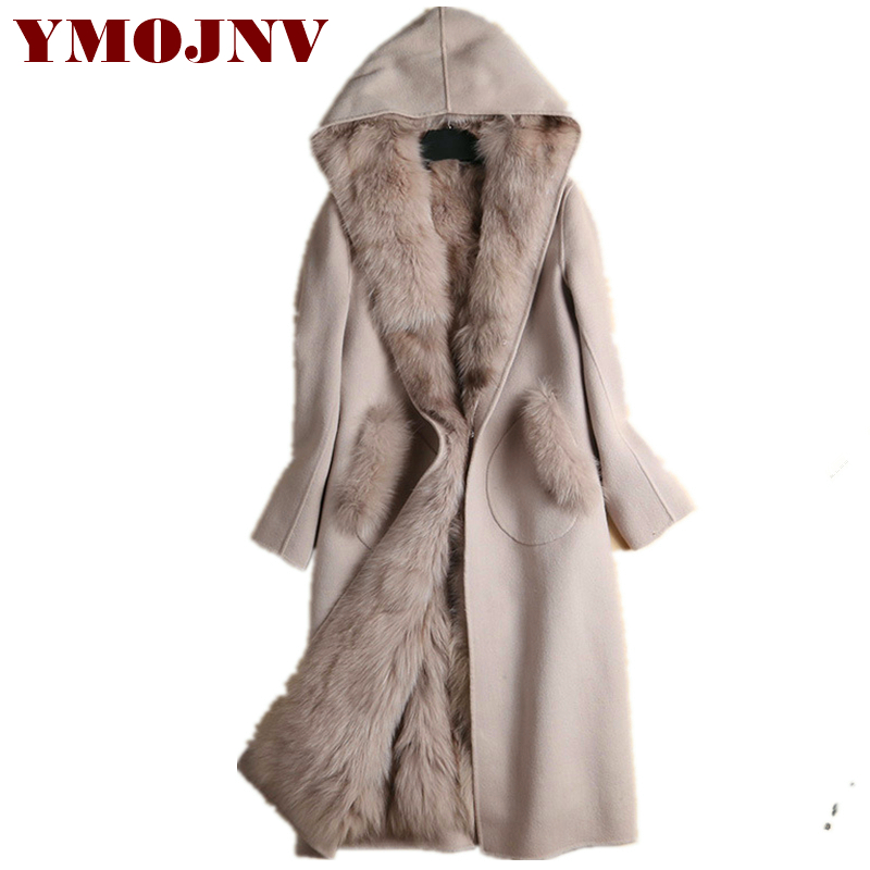 Ymojnv 2018 Winter New Hooded Double-Confronted Cashmere Coat Ladies Style Heat Removable Pure Fox Fur Liner Lengthy Wool Overcoat