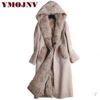 YMOJNV 2019 зимнее Новое двустороннее кашемировое пальто с капюшоном женское Модное теплое съемное натуральное лисьее Мех Лайнер длинное шерст