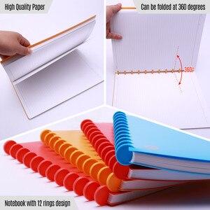 Image 4 - 100 arkuszy A4 twarda okładka pisanie notatnik wielokrotnego napełniania luźny liść rządzony/puste papierowe grzyby otwory 12 pierścieni spoiwa