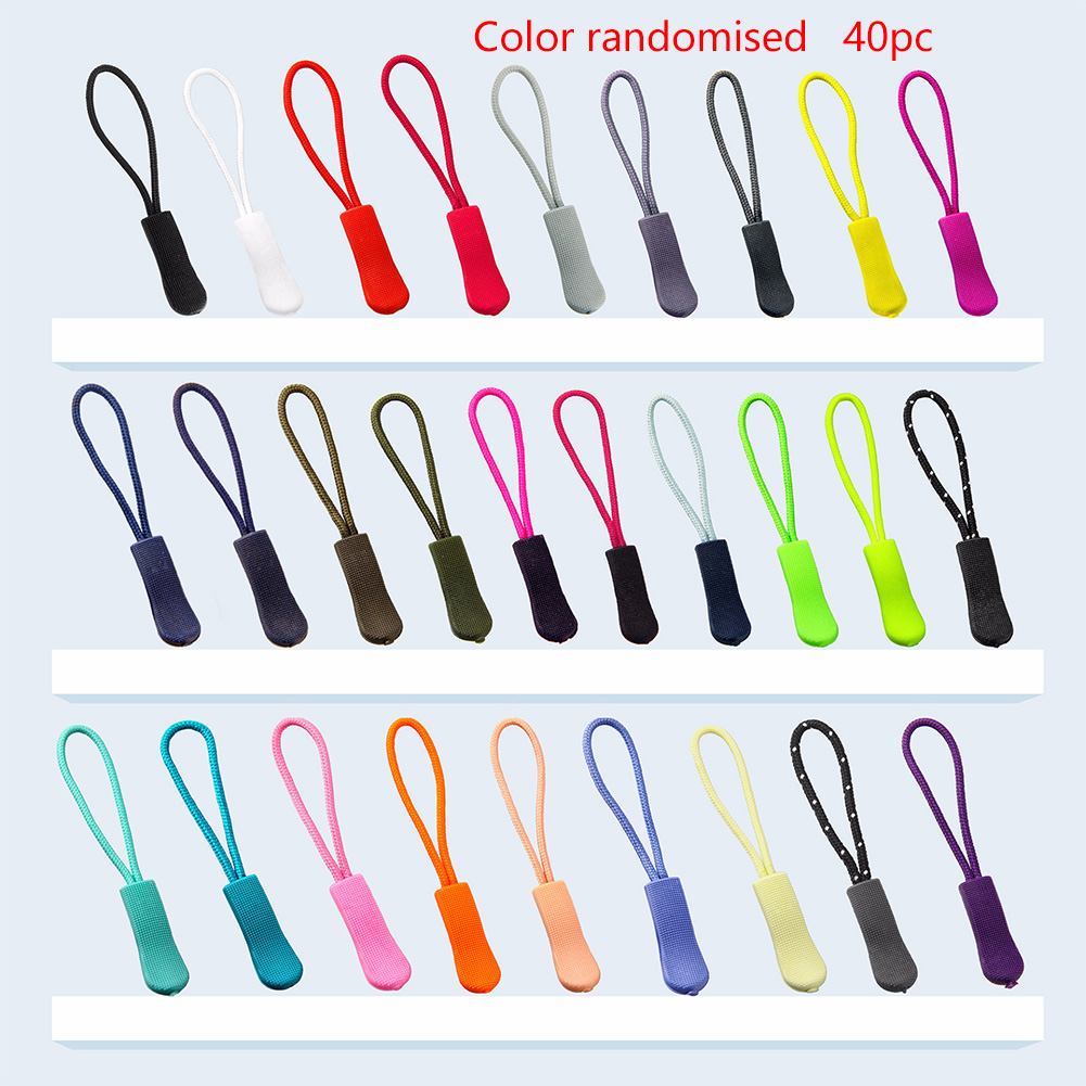 40pcs Extension Strap Flexible PVC Slider Backpack Ends Lock Cord Zip Tag DIY Lariat Clothing Luggage Replacement Zipper Pull