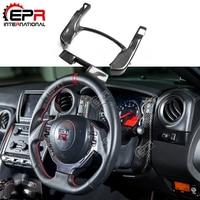 For Nissan R35 GTR Carbon Fiber Center Gauge Bezel Set LHD Glossy Finish Steering Wheel Cover Kit Fibre Interior Trim Drift Part