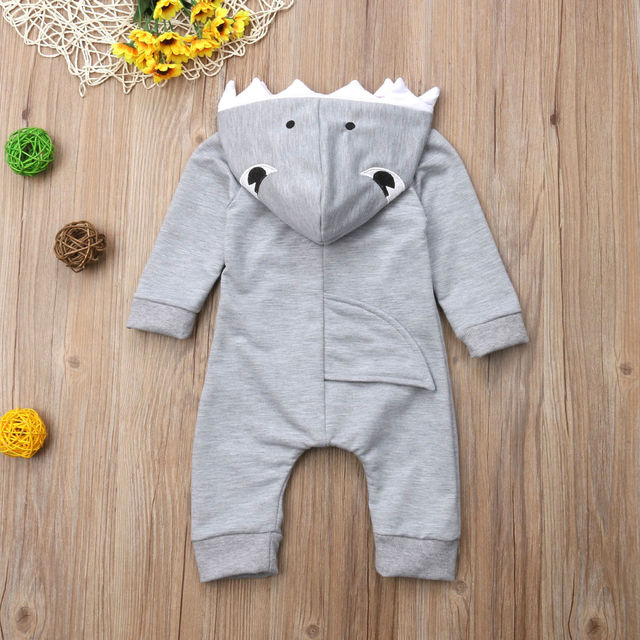 Newborn Infant Baby boy romper Hooded 3D shark dinosaur costume baby Cotton halloween christmas animal jumpsuits one size Kids 5