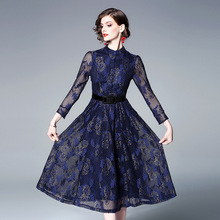 2019 European and American lace dress spring new long-sleeved waist slimming female free shipping