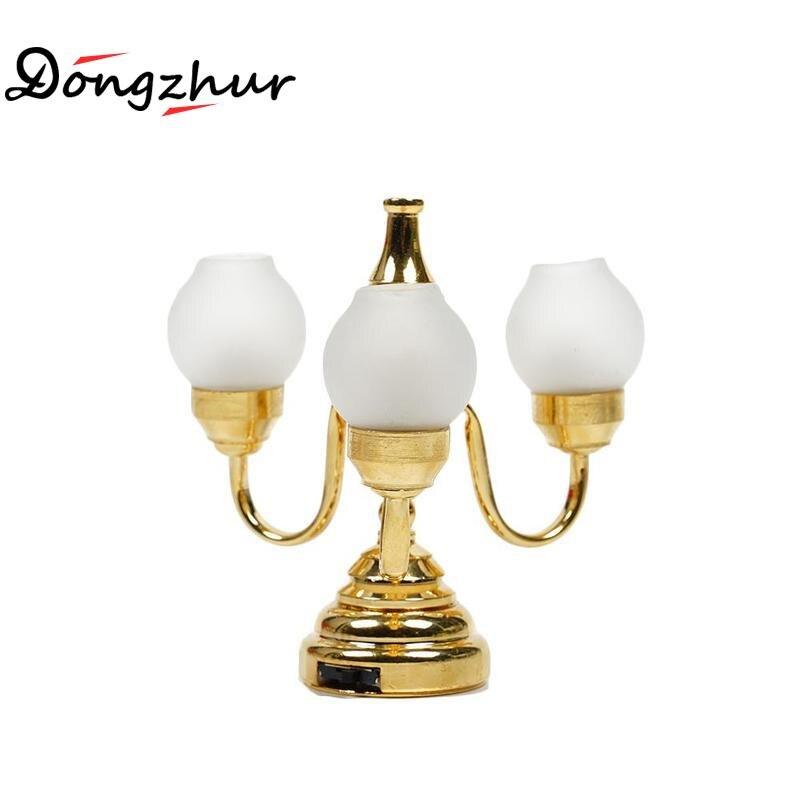 Pretend Play Toys & Hobbies Fbil-bronze Metal 1:12 Dollhouse Miniature Led Desk Lamp Model With Multicolor Umbrella Shape Lampshade