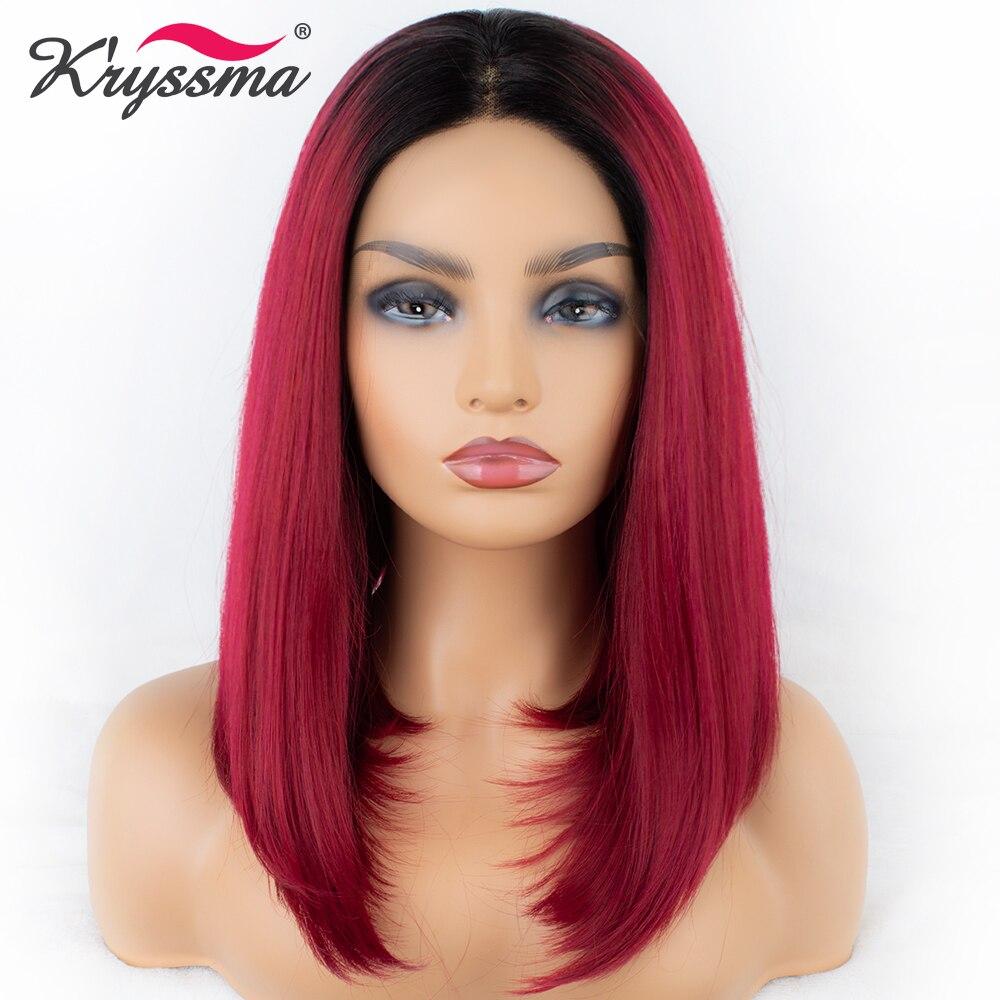 Горячий красный парик короткий натуральный прямой синтетический парик шнурка темные корни Омбре парик Средняя часть 150% плотность Helloween ...