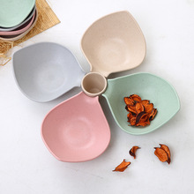 4 Pcs Plate And 1 Cup/Set Bamboo Fiber Healthy Spice Cute Multifunction Salad Fruit Food Container Custom