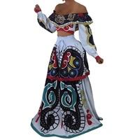 African Dashiki Skirt Set Women Traditional Dresses for Women Suit Slash Neck Crop Top Floor Length Long Skirts Suits 2 Pieces
