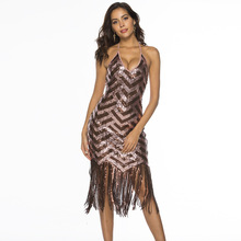 MUXU sequin suspender dress sexy vestidos kleider fashion sukienka bodycon long fringe patchwork clothes party backless