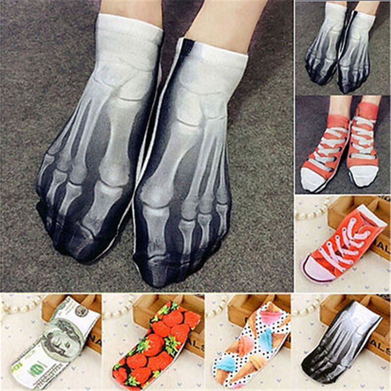 Hot Pop Unique New Summer Cartoon Men Women Short Socks 3D Painting Art Happy Boat Socks Funny Kawaii Colorful Ankle Socks