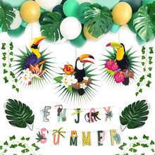 Jungle Party Decoration Set Enjoy Summer Banner Toucan Paper Fans Tropical Ivy Palm Leaves Animal Safari Birthday