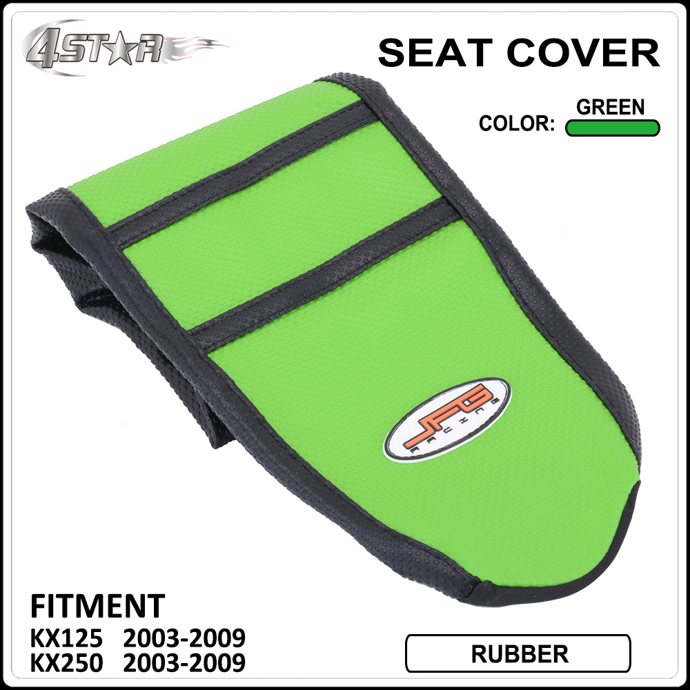 Green And Black Rubber Ribbed strip-type Motorcycle Gripper Soft Seat Cover Moto <font><b>Parts</b></font> For <font><b>KAWASAKI</b></font> <font><b>KX125</b></font> KX250 2003-2009 image