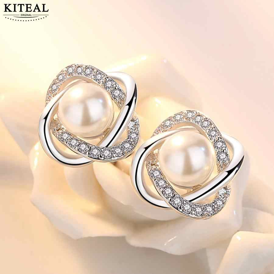 Kiteal 925 Silver Earrings Zircon Pearl Twist Luxury earrings For Women brincos wedding party jewelry S-E290