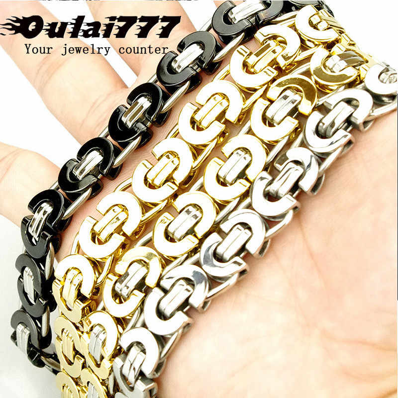 2019 stainless steel Byzantium men charm bracelet on hand link chain accessories mens male bracelet hip hop rock style wholesale