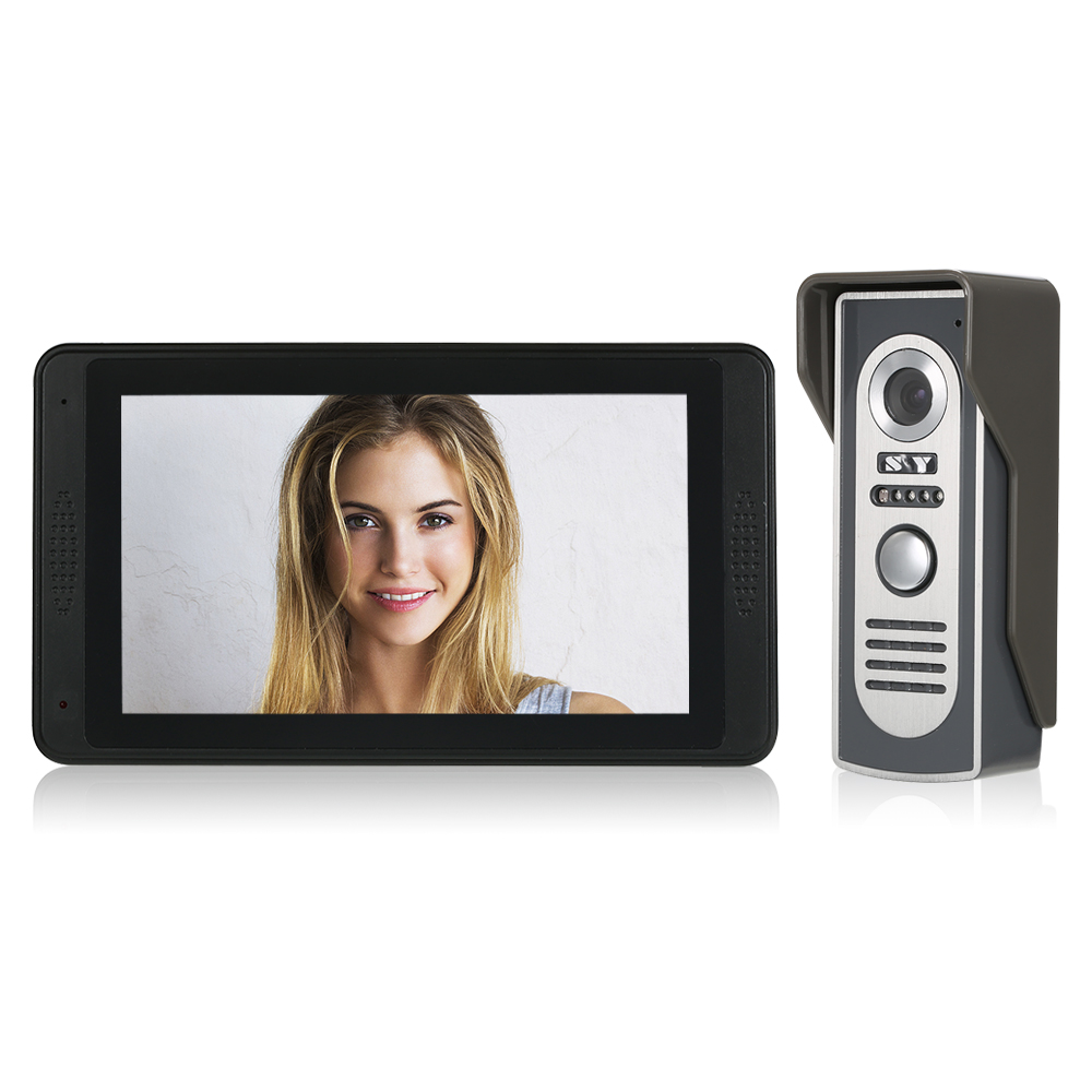 """Wired Video Doorbell 7"""" TFT LCD Touch Screen Video Door Phone with 1 Camera 1 Monitor Waterproof Two way Intercom Monitoring-in Video Intercom from Security & Protection    1"""