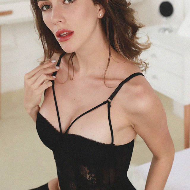 51b5e96b55 Sexy Transparent Lace Push Up Bra Corset Bustier with Cup Girdle Set with Straps  Belt Women
