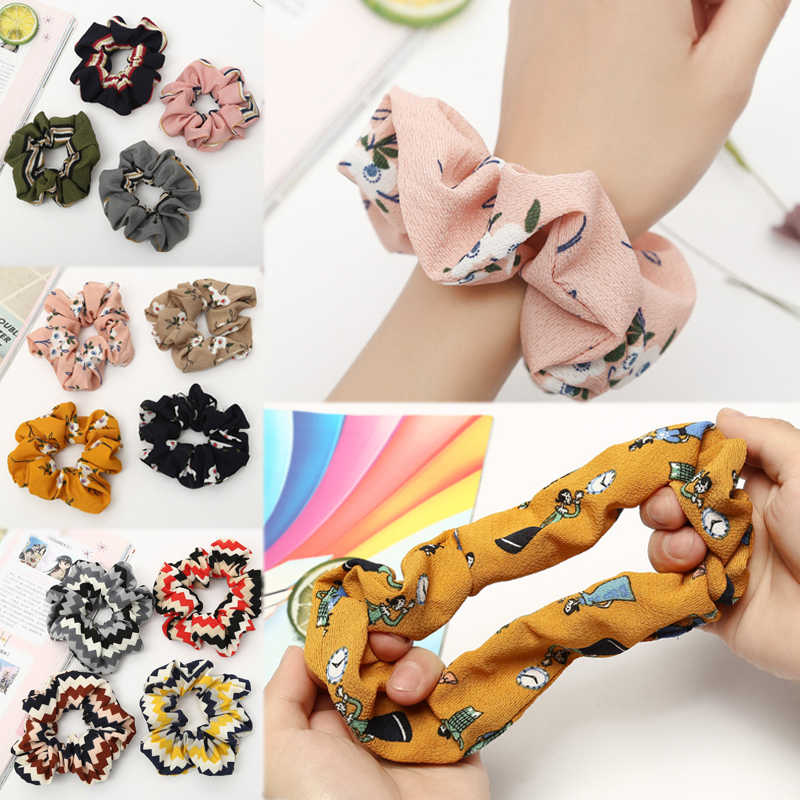 Ponytail Holder Strip 1PC Flower Print Soft High Quality Comfortable Hair Rope Adjustable Hot Sale Elastic Tie Scrunchie