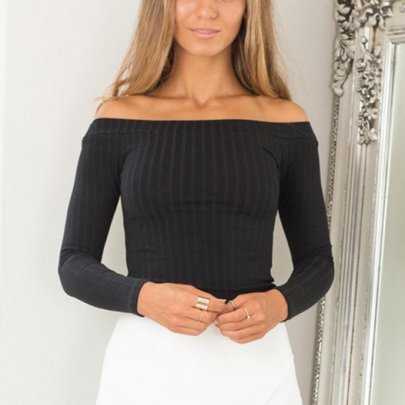 Fashion Sexy One Word Collar Strapless Shoulder Shirt Long-sleeved Short Paragraph Solid Color Spring Bottoming Shirt