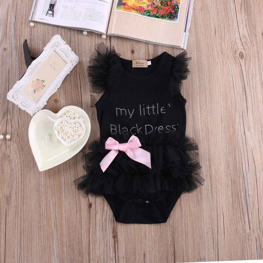 Kids Baby Girls Embroidered My Little Black Dress Bodysuit Romper Jumpsuit 0-18M